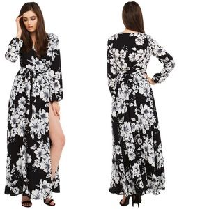 Ark & co floral black and white maxi dress